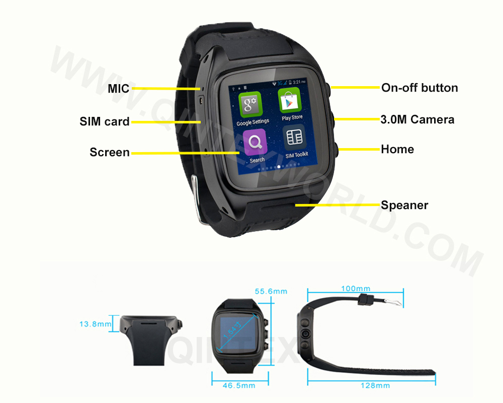 smartwatch GSM/WIFI/3G/GPS etc android 4.4 smart watch waterproof smart watch phone gps watch