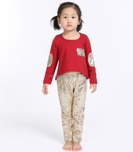 2016 Most popular baby autumn outfits,Yiwu Factory sales baby clothing,wholesale cotton top and sequin leggings
