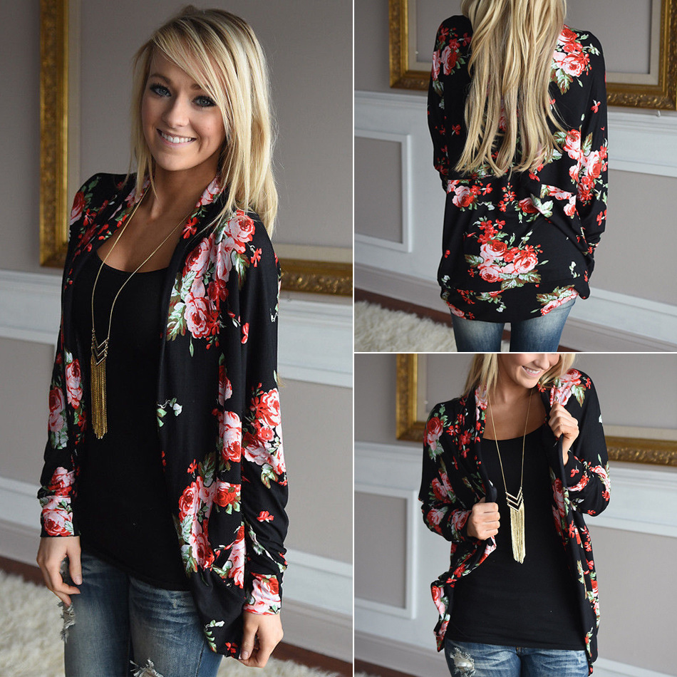 2017 Instyles New Arrival black floral cardigan blouse woman clothing