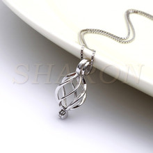 Silver Jewellry locket Sterling Silver Helix Twisted Pearl Cage Pendant