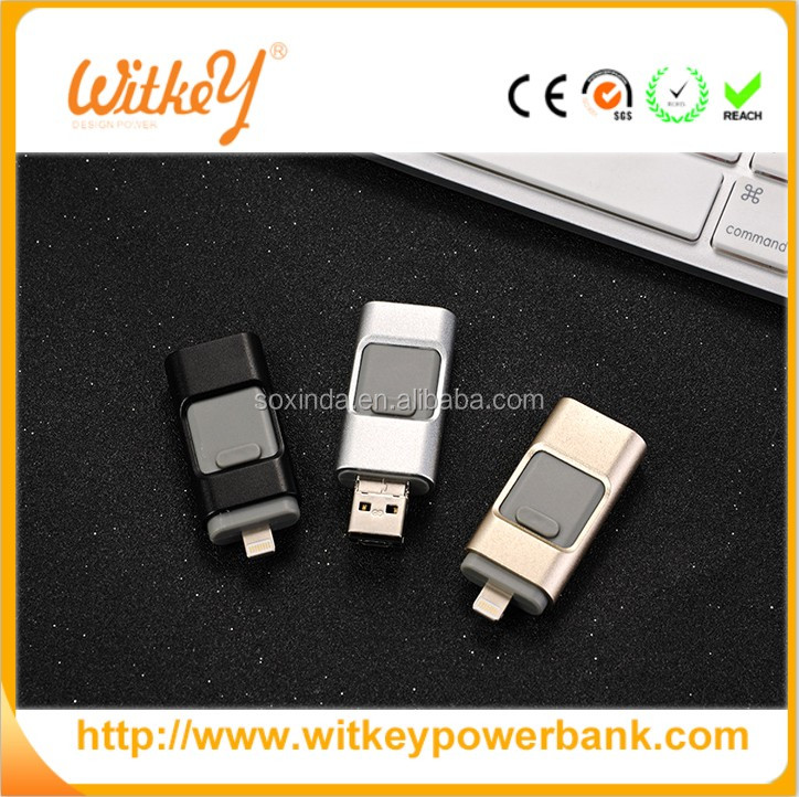 Unique Desgin metal 3in1 OTG USB Flash Drive for iPhone and Android mobile phone