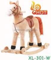 2016 Hot Sale Large Sized Plush Rocking Horse with Wheels