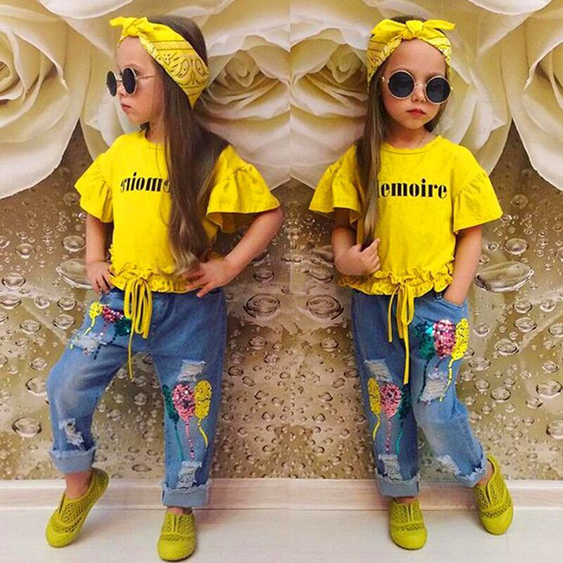 New Design Kids Summer clothing letter yellow flare sleeve T-shirt and <strong>Jeans</strong> and Hair band suits <strong>3</strong> pieces for baby girls