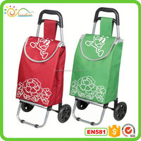 Supermarket portable folding shopping trolley bag with wheels.