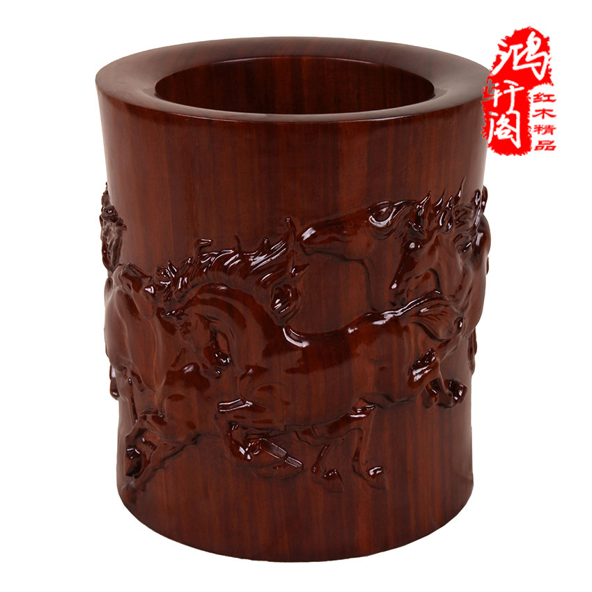 Hongxuan Club Redwood crafts small pieces. Wood carving eight horse pen, high-end home office gifts.