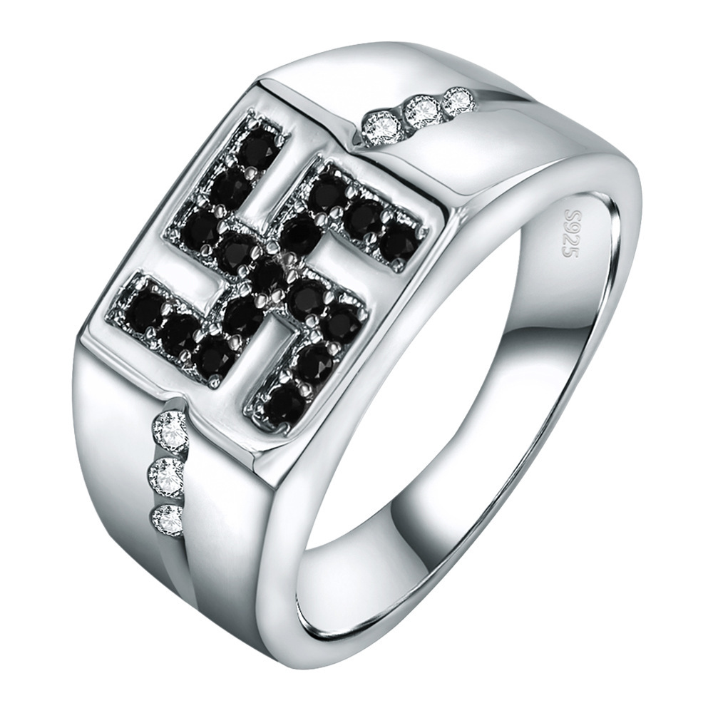 Simple Design Punk Style 925 Sterling <strong>Silver</strong> Black and White Crystal Rings for Couple