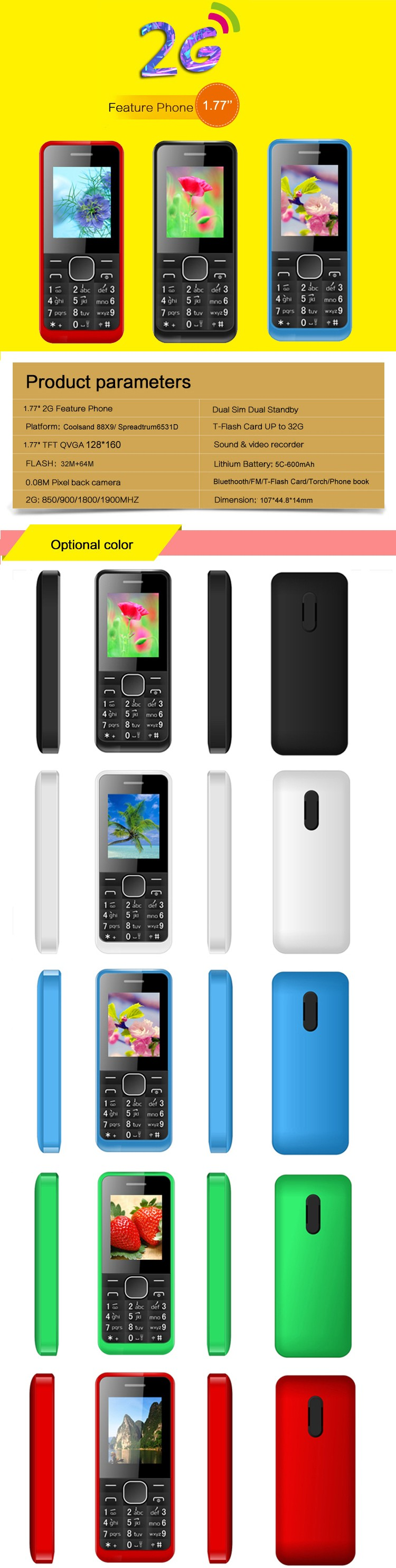 Cheap 2g feature phone Low Price China mobile phone