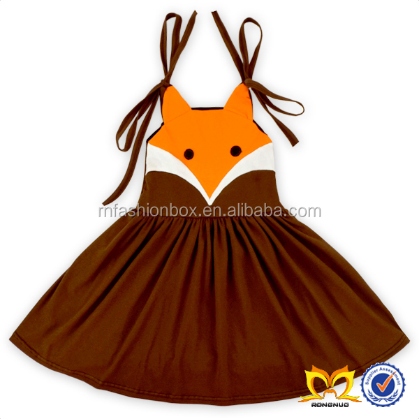 Halloween Fox Baby Dress New Model Girl Dress Children Long Frocks Designs 2016