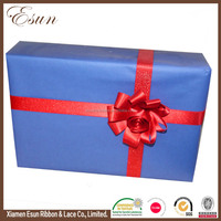 Popular fancy design wrap single face red satin ribbon bow for gift packing
