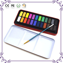 Good quality popular safe for kids watercolor painting 24 color watercolor paint set