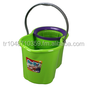 Spin Mop, Easy Wring and Clean Microfibre Mop and Bucket - Green