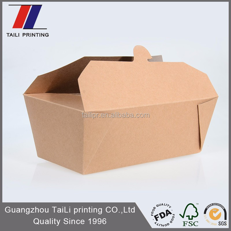 Customized PE Coated Kraft food box to bring food fast