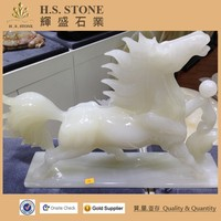 Semi precious stone carving animals Pure white onyx running horse statue jumping horse statue