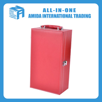 High-grade red leather wine packaging box
