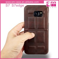 Retro Grid Leather Cover Plastic Case For Samsung Galaxy S7/S7 Edge Shockproof Case