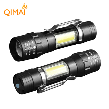 mini cob flashlight led rechargeable hand lamp army torch