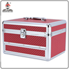 professional aluminum beauty case in red with mirror