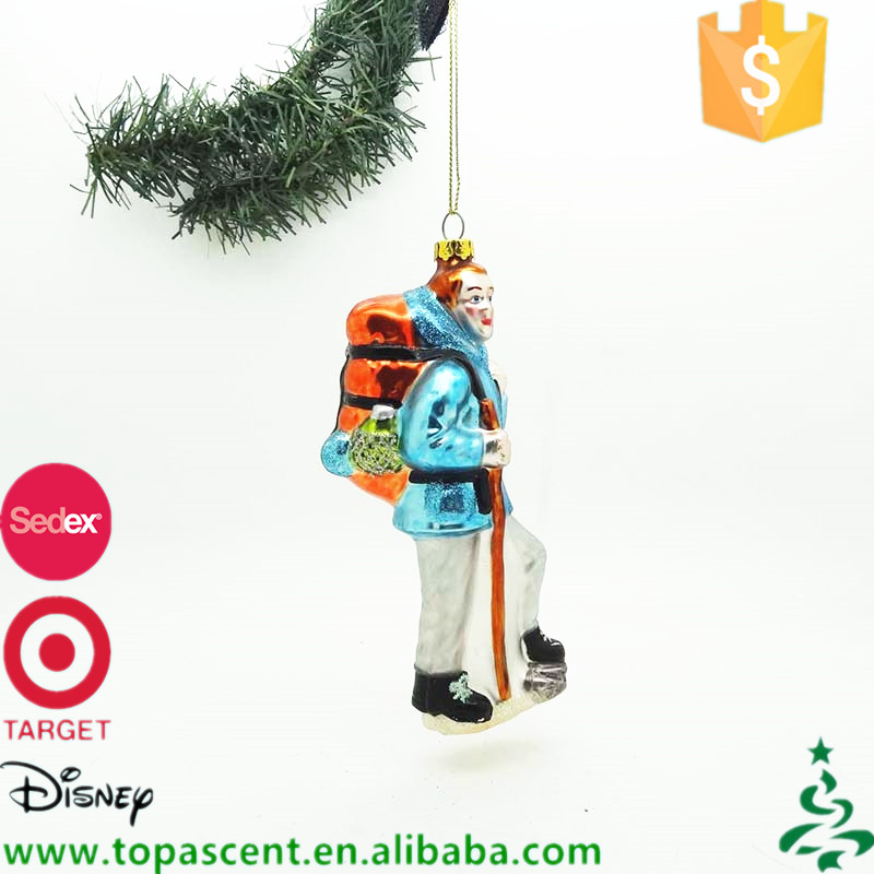 China supplier wholesale hand painted blown glass boy in blue with yellow backpack mountaineering christmas ornaments