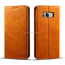 Magnet real leather case pouch for Samsung Galaxy S8, Cow skin wallet case for Galaxy S8 Plus