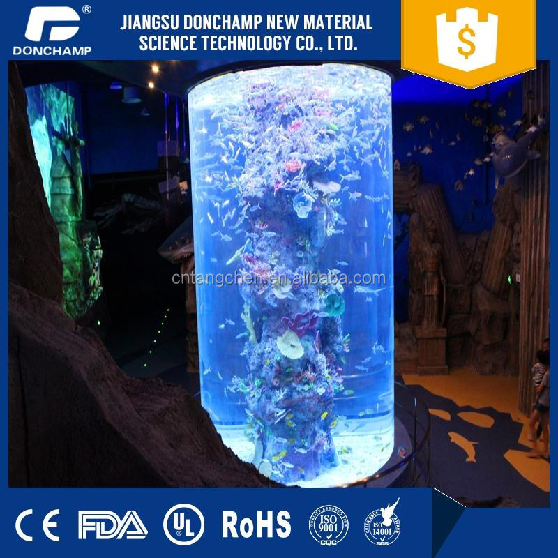 High quality cylindrical glass aquariums with acrylic sheet