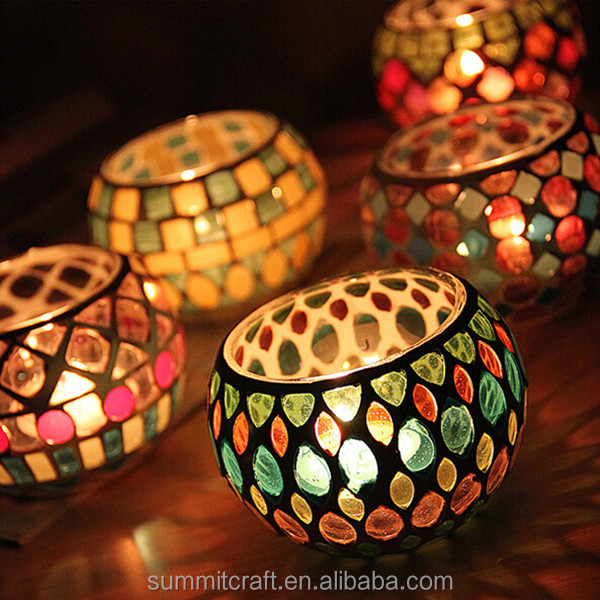 Round shape glass mosaic candle holder moroccan lanterns