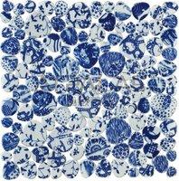 Blue and White porcelain mosaic pebble garden floor tile