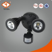 Twin Head Wall Mounted 24W 2060 Lumens Die Cast Aluminum Outdoor LED Flood Light With Motion Sensor