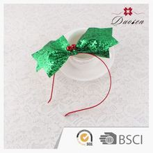 Hot Sales Super Quality Classic 100% Handmade Large Sparkle Christmas Sequin Bow Headwrap