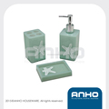 Plastic bathroom set with starfish silkscreen