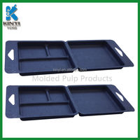 New late-model Fiber Molded eco packaging trays,hot Pressing sugarcane bagasse Eco Trays