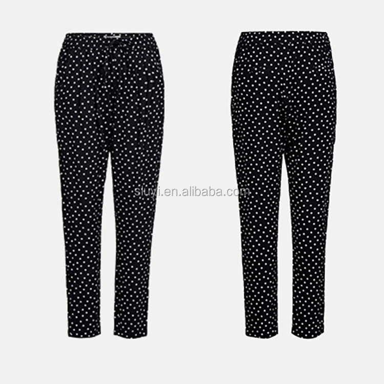 Women Polka Dot Printed Harem Pants Casual Elastic Waist Plus Size Ladies Stretch Trousers