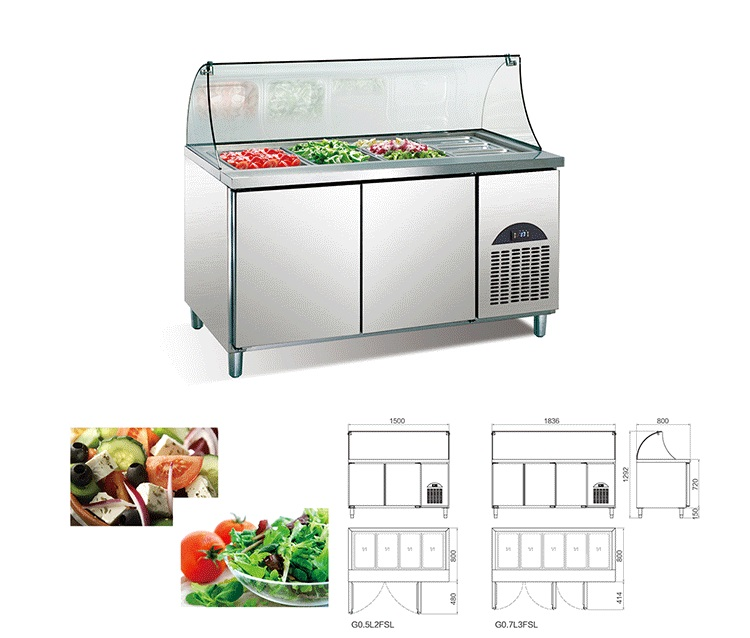 Stainless steel salad bar refrigerator chiller fruit display fridge