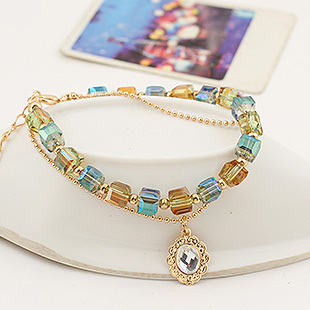 CandyGirl brand chain link high quality crystal natural stone bead gemstone bracelet
