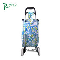 Promotional Top Quality Trolley Dolly Canvas Folding Bags Supermarket With 400D Polyester Bag