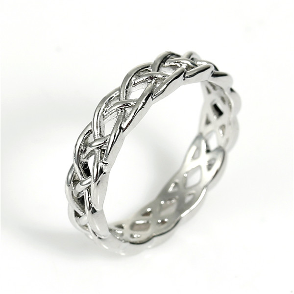 Fashion Copper Unadjustable Rings Round Silver Tone Celtic Knot Carved Hollow 17.7mm