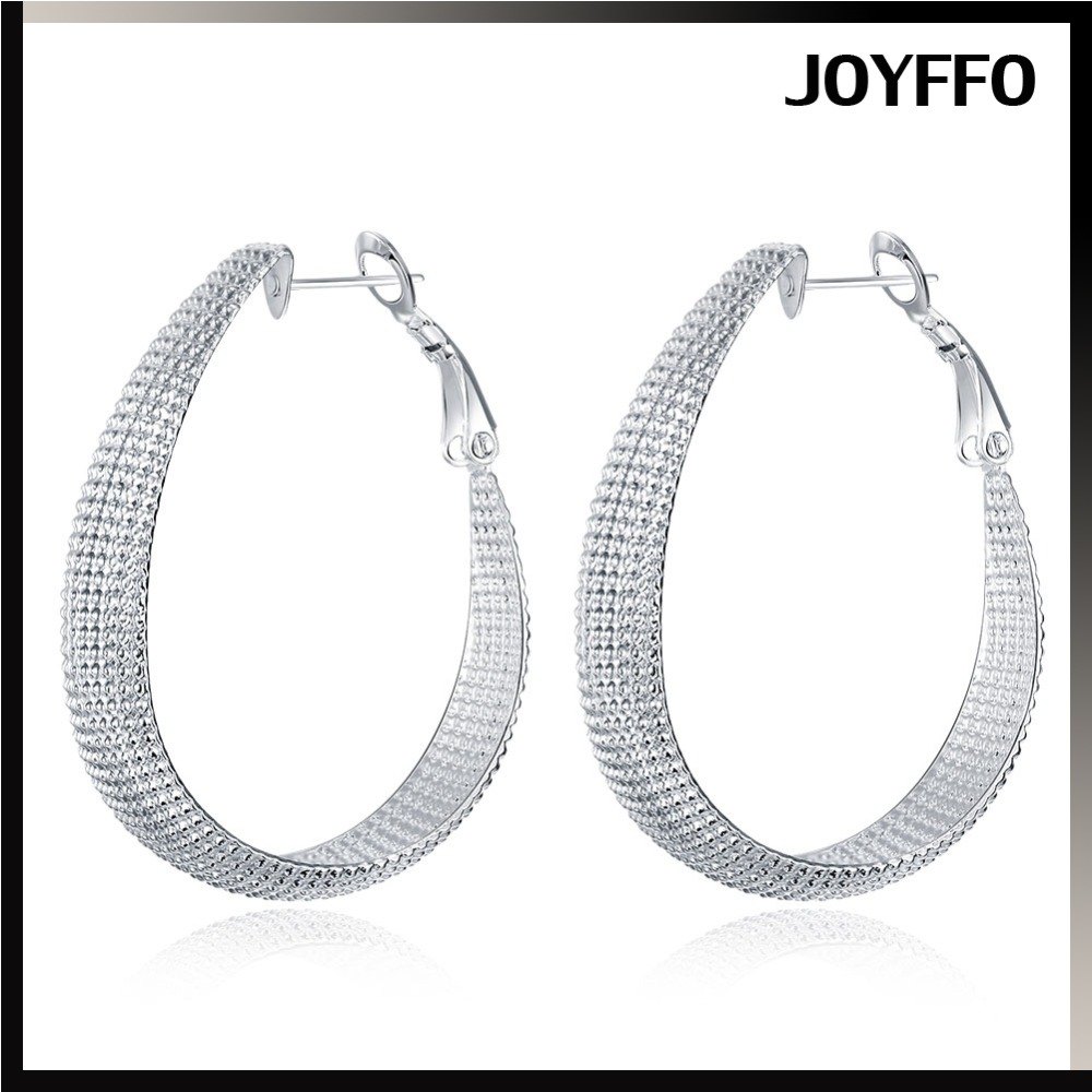 Elegant Jewelry Fashion 925 silver Charm hoop earrings Ear Studs solid Silver Fashion Hoop Dangle Earring Studs