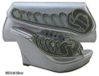 MS3140 Silver India fashion shoes and matching bag set new model african style high heels and purse