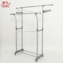 XNR-321 standing revolving hanging garment hanger adjustable hight metal Movable double rail Telescopic Clothes Drying Rack