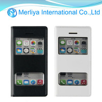 Two view window PU Leather Cover Case Stand for iPhone 5C