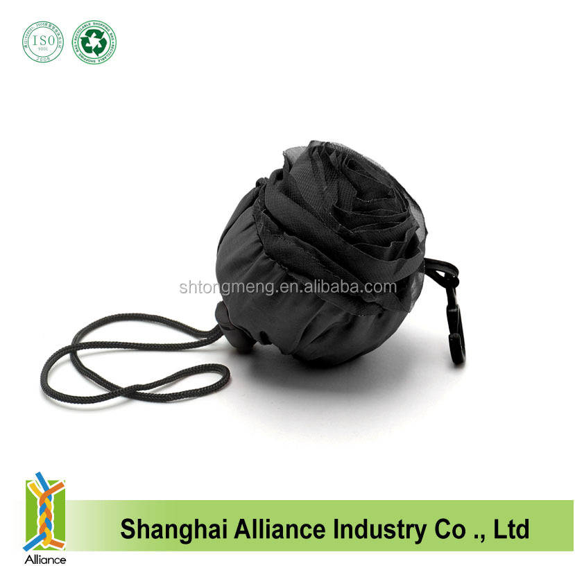 2015 new design customized black rose shape foldable shopping bag