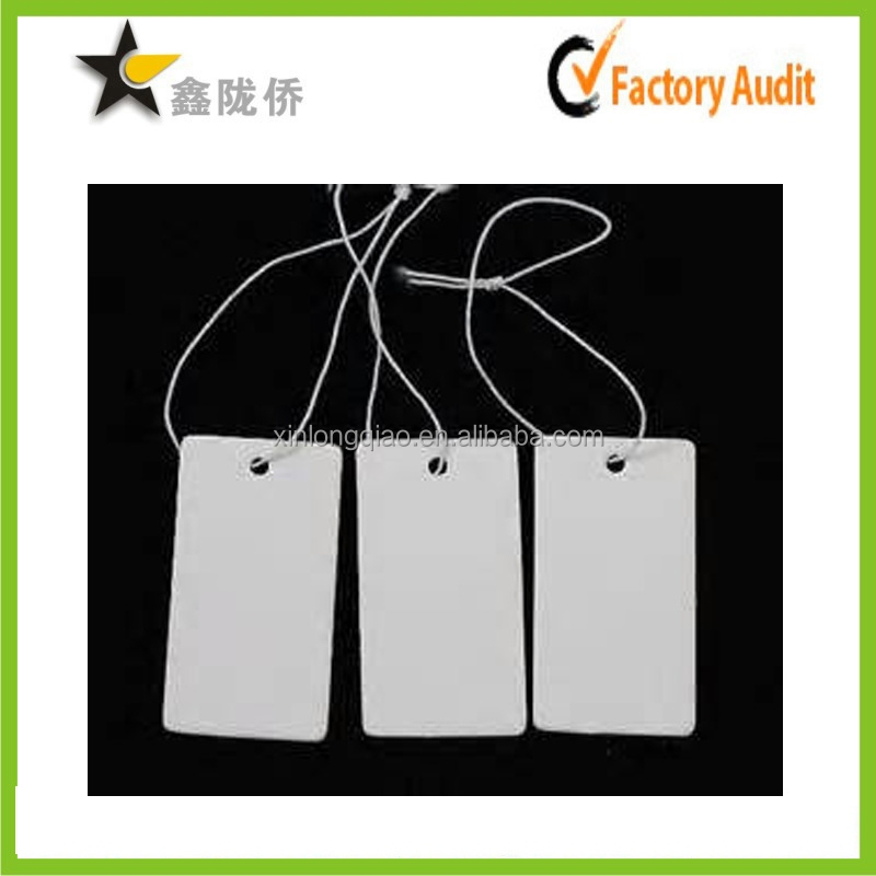 2015 China factory OEM cheap custom superior blank white hang paper tag rope with your own slogan printing