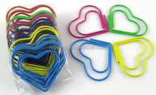Plastic coated heart-shaped colorful paper clip with matched heart-shaped plastic box