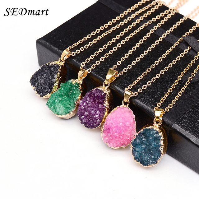 SEDmart Druzy Quartz Natural Stone Irregular Geode Amethyst 18K Gold Plated Raw Stone Pendant Necklace For Women Quartz Necklace