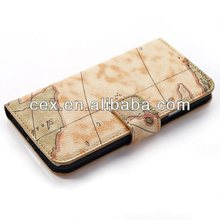 For Samsung Galaxy S5 i9600 New Arrival World Map Magnetic Wallet Stand PU Leather Folio Case