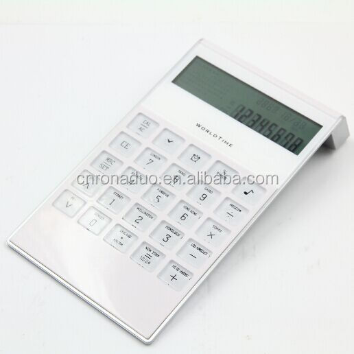 calendar calculator desktop battery white and black color 8 digits word time with clock calculator