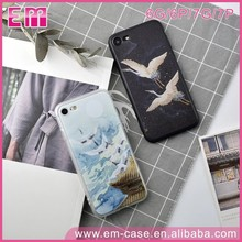Custom Printed Silk Pattern Soft Edge Crane Cover TPU Case For iPhone 7 7Plus