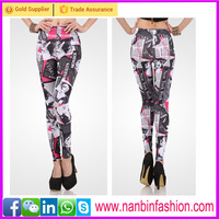 Fashion new design tight sexy newspaper pattern printed leggings