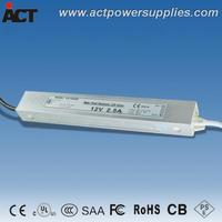 UL listed CE SAA approved ACT V-12030C 30W 12V 2.5A waterproof LED driver
