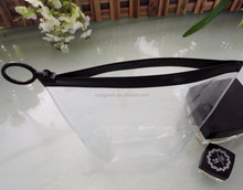 Vinyl O Ring Hanging PVC Packaging Bag for Clothes Cosmetic Bikini Zipper Carried Bag