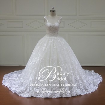 XF16103 Luxury diamond crystal beaded ball gown wedding dress 2017 fashion lace wedding gown